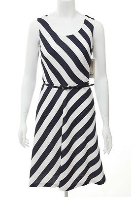EVAN PICONE NEW  9614 Navy White A-Line Belted Dress 4