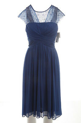 ALEX EVENING $179 NEW Blue 9600 Pleated Ruched Womens Dress Petites 10P