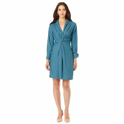 Byron Lars Chic Long Slv Twist Front Crepe Dress Solid Dusty Teal 10 NEW 357-266