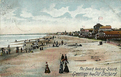 Greetings from OLD ORCHARD ME Beach Looking South Vintage 1907 UDB Postcard