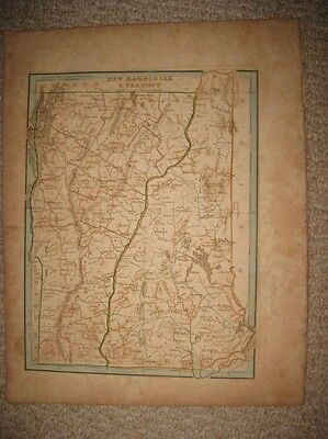 Early Superb Antique 1835 Vermont New Hampshire Handcolored Bradford Map Rare Nr
