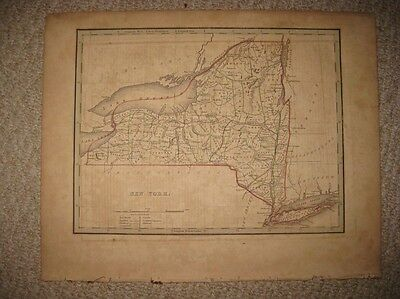 Early Important Antique 1835 New York State City Bradford Map Long Island Rare