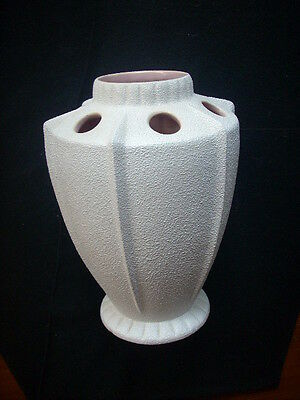 Huge Mcp Mingay Lightly Textured Off White Vase With Glazed Pink Interior