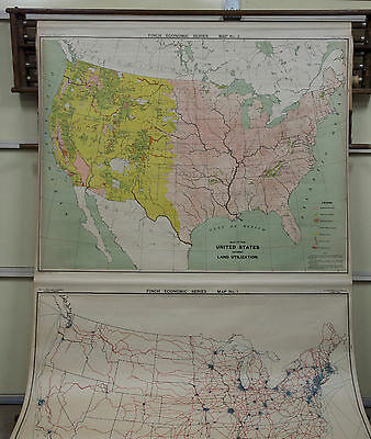 1930's Rare Map of The United States A.J. Nystrom Pull Down Maps, Set of 10 Maps