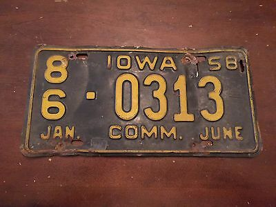 1958 Iowa Commercial License Plate Number 86-0313