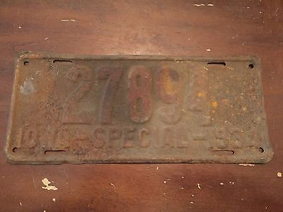 1934 Iowa Special License Plate Number 27894