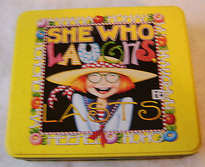 """Mary Engelbreit She Who Laughs Lasts JC Penney EMPTY Tin  8"""" x 7"""" x 2"""""""