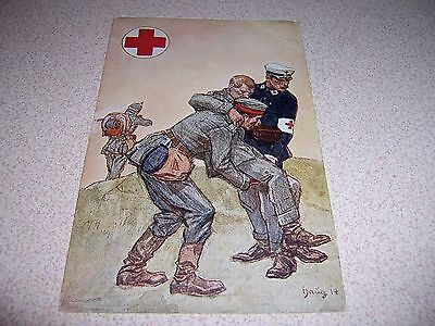 1914 Wwi Red Cross Helping Wounded German Soldier Antique Postcard