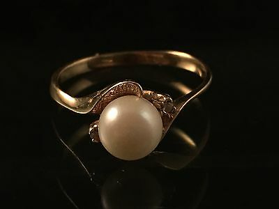 10k Yellow Gold Pearl Diamond Ring Size 6