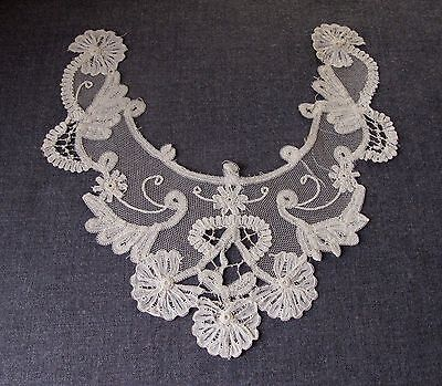 Antique Tulle Lace Flowers Large Applique For Blouse Or Dress Unused