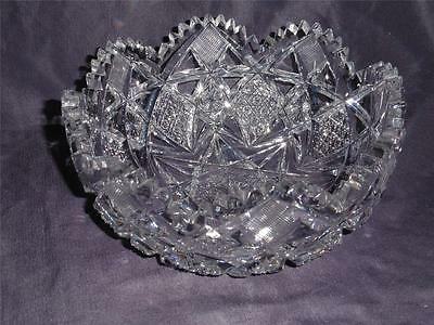 """ABP Brilliant Cut Glass Crystal Berry Bowl 7.25"""" Hawkes Signed"""