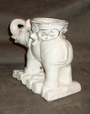 "Elephant planter, white and black, 5 7/8"" tall, Japan, no worries"
