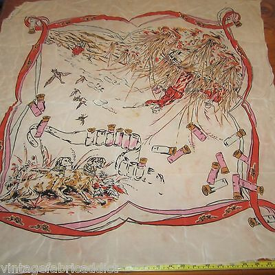 Vintage Scarf Italian Rayon 1940S 30S? Duck Hunting Guns Dogs Novelty Damaged