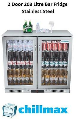 NEW 2016 Chillmax Bar Beer Wine Fridge 2 Door Glass Stainless 208L Under Counter