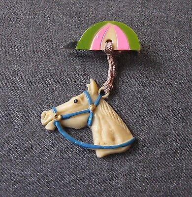 Antique 1930's Painted Celluloid Dangling Horse's Head & Cap Pin