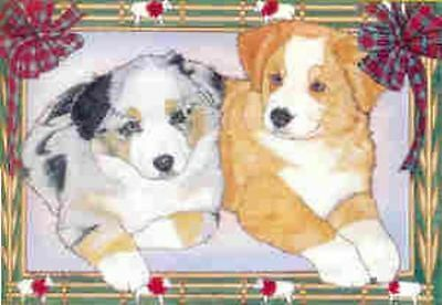Ten Cards Pack AUSTRALIAN SHEPHERD Dog Breed Christmas Cards USA made