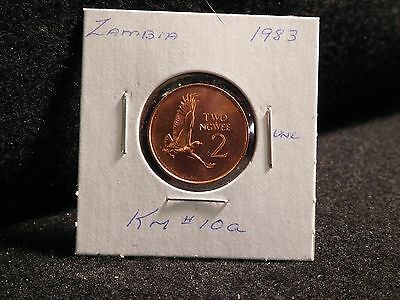 ZAMBIA:   1983      2 NGWEE    COIN     (UNC.)    (#3812)  KM # 10a
