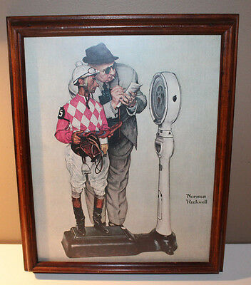 "1958 Norman Rockwell Horse Racing Jockey Weight Scale Print Ad 10.5"" x 13.5"""