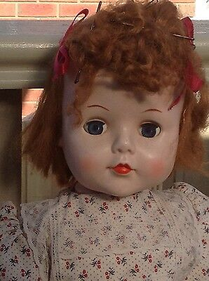 Vintage celluloid/plastic doll collectable approx 55cm tall walker? Needs TLC