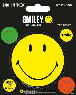 Vinyl Sticker / Aufkleber-Set SMILEY - Catch Happiness - 1x 7,5cm 4x 2cm  NEU
