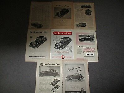 COLLECTION**LEA-FRANCIS**1940s**7 FULL PAGE VINTAGE ORIGINAL ADVERTS/ARTICLES