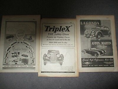 COLLECTION**ASTON MARTIN**1940s**3 FULL PAGE VINTAGE ORIGINAL ADVERTS