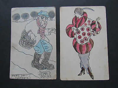 Old POSTCARD Original Hand Drawn 1920's Art Deco Lady in Oversize Coat Unposted
