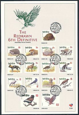South Africa 1998 Redrawn 6th Definitive Wildlife Set of (2) x First Day Sheets