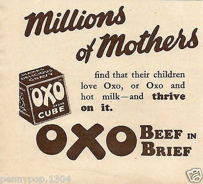 Oxo * Beef In Brief * Oxo And Hot Milk * 1937 Advert