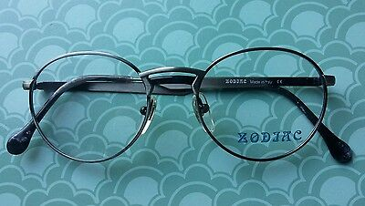 Vintage    Glasses  Round  Frame New Stock. Gun Metal 51/19   Made  In  Italy  .