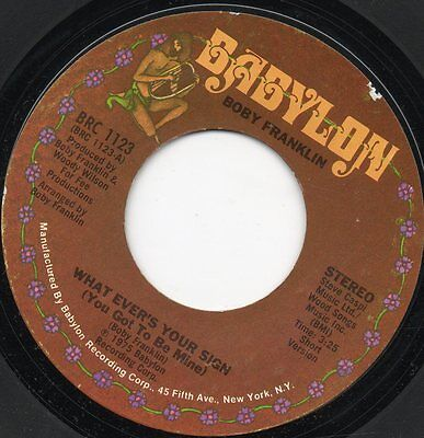 Boby Franklin - What Ever's Your Sign  - Northern Soul - Usa Import - Funk