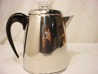 Vtg Farberware 6 Cup Stovetop Coffee Pot Percolator Glass Top Stainless Steel EX