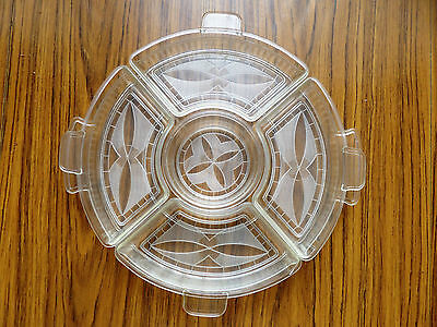 Vintage Retro Lazy Susan 5 fancy compartments & Clear bottom tray