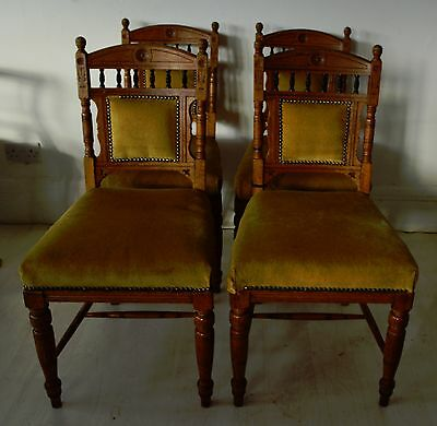 Great Set of 4 Oak And Ebony Dining Chairs In Aesthetic Style. English, C.1900.