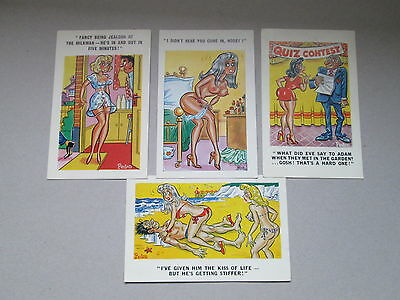 4 (Four) Vintage Risque And Suggestive Comic Postcards  Vgc