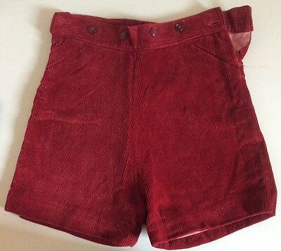 VINTAGE 1950s BOYS RED BURGUNDY CORDUROY LINED  SHORTS (4677)