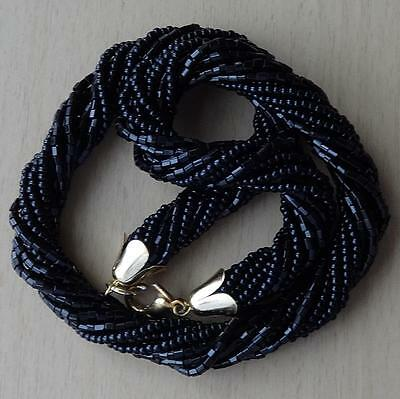 Vintage Multi-Strand Black Glass Bead Twisted Rope Necklace