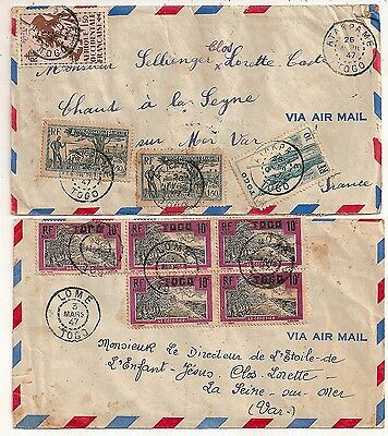 2 LETTRE COVER,TOGO,ATAKPAME,LOME,1947,Affranchissements spectaculaires