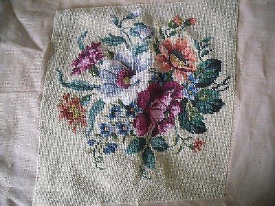 "VTG IVO floral tapestry not complete 12"" x 12"" /no wools"
