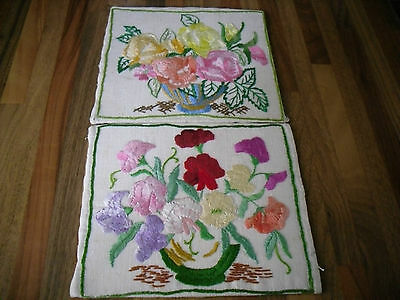 2 VTG Floral 50s? embriodered/crewel/pictures/mats very pretty
