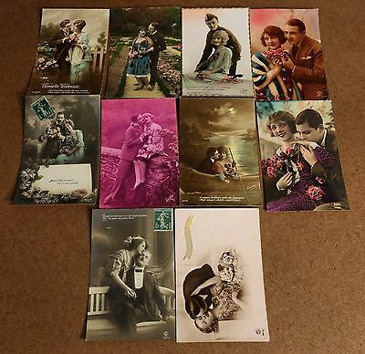 10 France French Real Photo Postcards RPPC Featuring Romantic Couples in Love