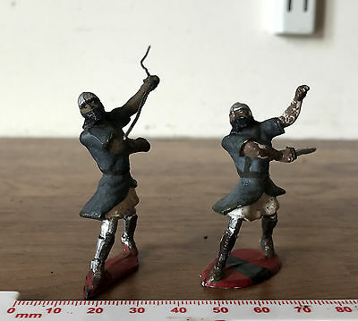 2 Possibly-Saxon Painted Toy Soldiers - ONE METAL & ONE PLASTIC - Same Series