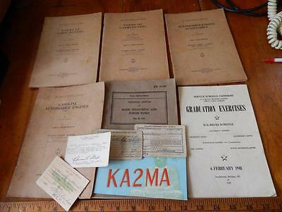 Vintage Lot of Paper Goods & Books, Tools, Carbs, Marine Air Camp, Soldier Cards