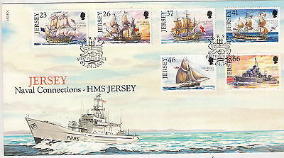 JERSEY 2001 NAVAL CONECTIONS SET Of 6 on FIRST DAY COVER