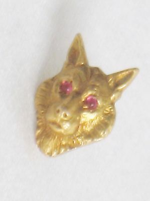 Dieges & Clust 14K Gold Tie Tac Pin w/ Ruby Eyes  Lion Wolf Bear