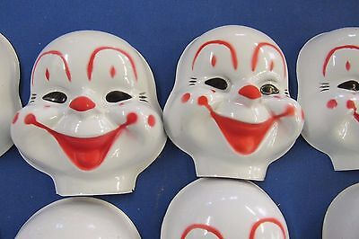 """10 Vintage Large 5-1/2"""" Unused  Plastic Clown  Faces Sewing  Doll Crafts"""