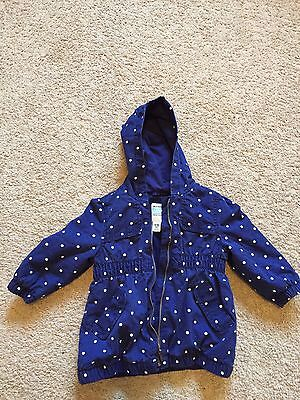 GUC Toddler Girls Navy Blue Polka Dotted OLD NAVY Jacket Size 12-18 Mths