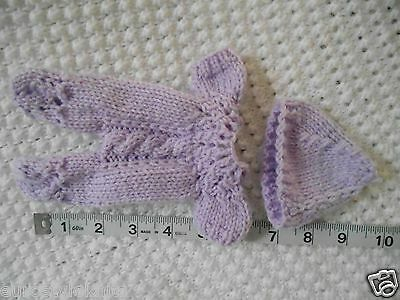 """Doll Clothes Hand knitted sleeper footed Lavender  fit Baby Berenguer ooak 7"""""""