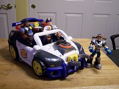 MATTEL Rescue Heroes Large POLICE CAR WITH SOUNd & Characters.  Works