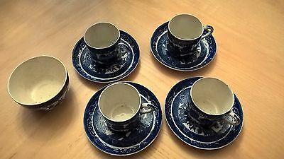 Adderley Ware Old Willow Demitasse Cups & saucers  bowl Porcelain  10 pieces